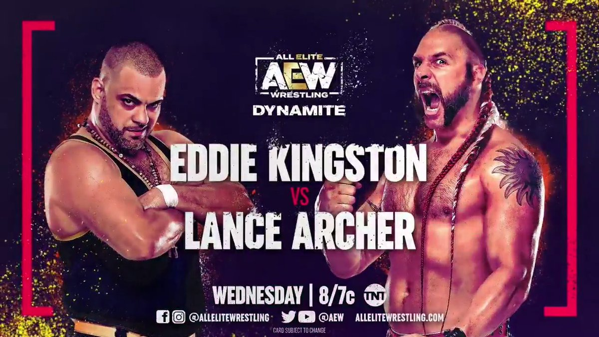 This is going to be a knock down drag out fight! Watch #EddieKingston (@MadKing1981) vs. 'The Murderhawk Monster' #LanceArcher (@LanceHoyt) this Wednesday on #AEWDynamite at 8e/7c on @TNTDrama