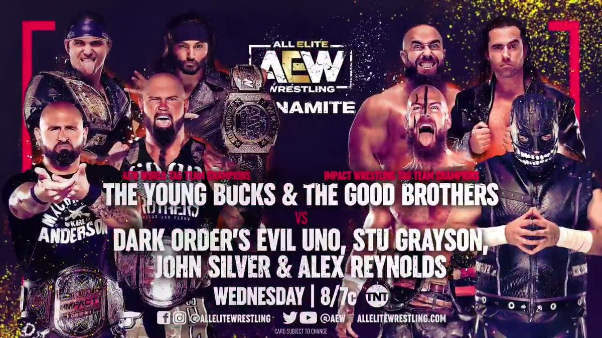 FOR THE FIRST TIME EVER The @IMPACTWRESTLING & #AEW World Tag Team Champions The Good Brothers & The Young Bucks Team up to take on Dark Order! Watch #AEWDynamite Wednesday at 8e/7c on @TNTDrama