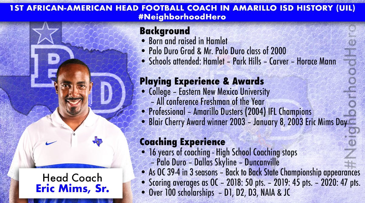 """Its official, I am the Head Football Coach & Athletic Coordinator at """"The"""" Palo Duro HS #NeighborhoodHero #Homecoming #NorthsidePride #Alumni"""