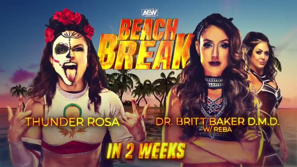 After weeks of taunting & brawling, these two will finally collide in singles competition at BEACH BREAK! It's Dr. @RealBrittBaker D.M.D w/ @RebelTanea vs. @thunderrosa22. Tickets go on-sale this Monday at 10am EST via