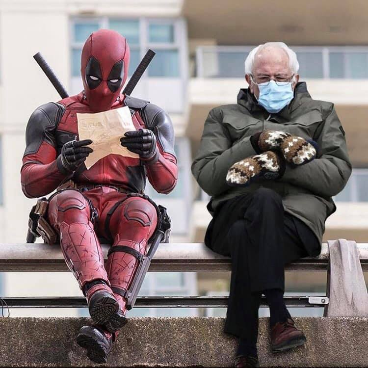 Now that I've seen it, I can't unsee it, and I totally want this for #Deadpool3. @MarvelStudios, @VancityReynolds please make this happen. 😂🤣  #InaugurationDay #InaugurationDay #berniesmittens #BernieSanders  #BernieSandersmemes