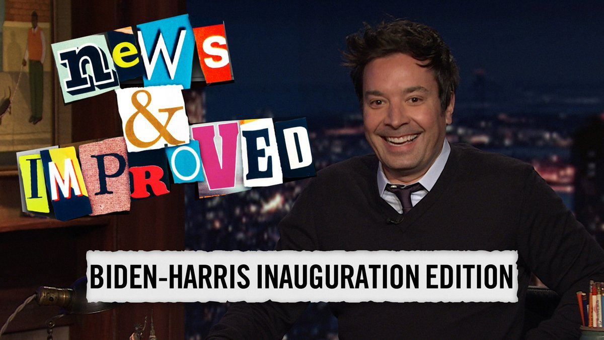You've seen this photo of @SenSanders at the inauguration… but have you seen this headline?!    It's News & Improved! 📰  #FallonTonight
