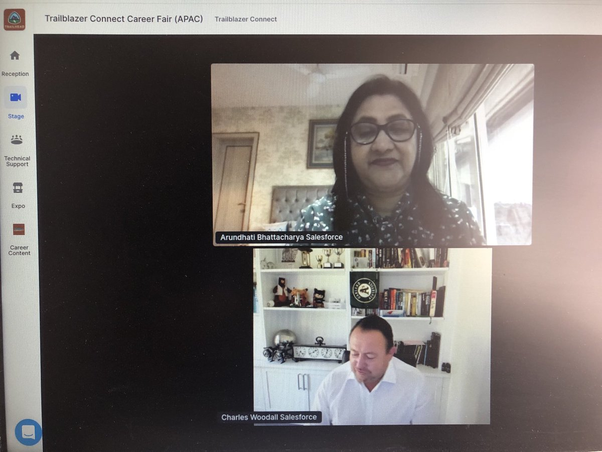 #TrailblazerConnect Global Career Fair fireside chat by Ms Arundhati Bhattacharya CEO of #Salesforce #India and Mr Charles Woodall, SVP APAC Alliance and Channels. All the best to all #jobseekers #Salesforcecareers #trailbalzercommunity