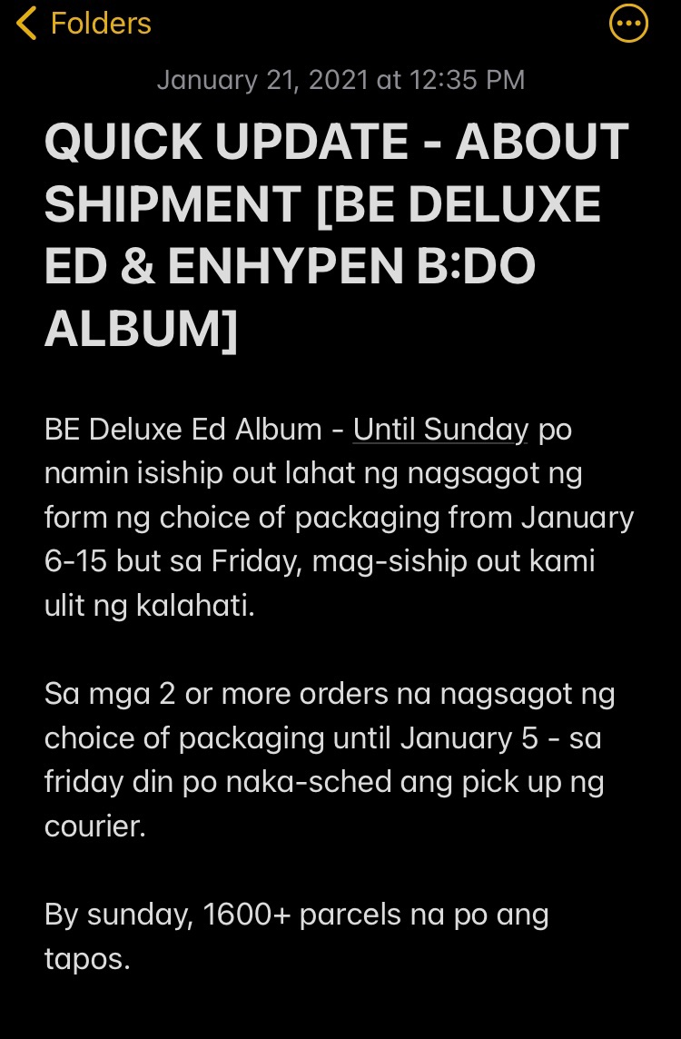 Replying to @satellite_ph: QUICK UPDATE - ABOUT BE DELUXE ED ALBUM AND ENHYPEN B:DO SHIPMENT  Please be guided po 💛