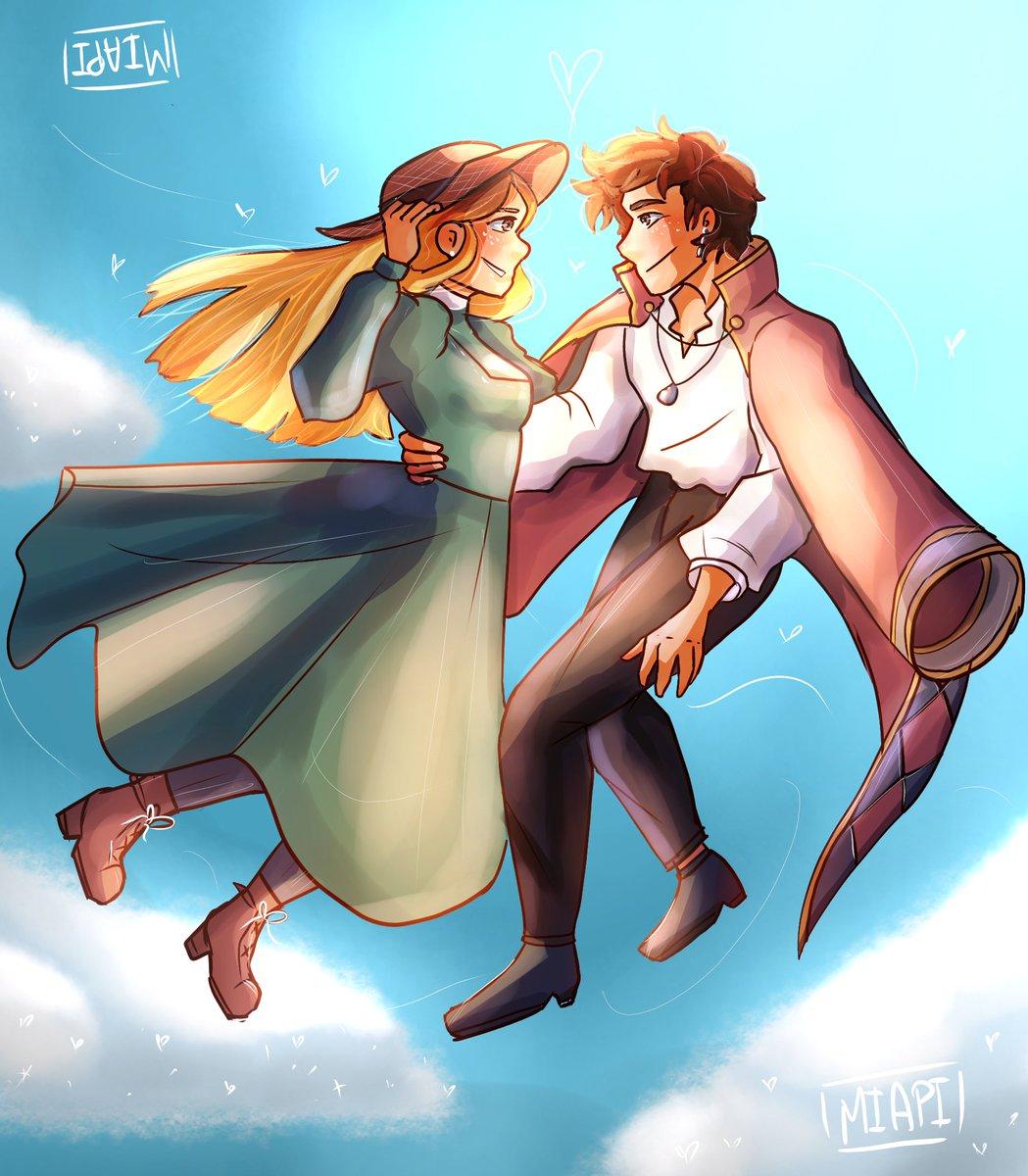 El Rubius e Irina... La pareja más linda que conozco hasta ahora.... 👉👈💜💕  @Rubiu5 @iriva_  les queremos y apoyamos 💕🥺   #draw #dibujo #rubius #fanart #studioghibli #HowlsMovingCastle