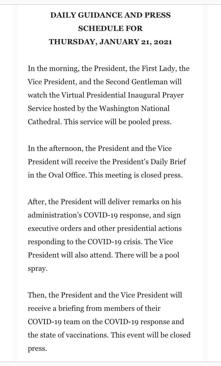 WH releases description of President Biden's schedule on his first full day in office.