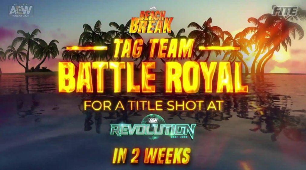 2 Weeks #AEWDynamite #AEWBeachBreak   Tag Team Battle Royal for a AEW Tag Team Championship Match at #AEWRevolution