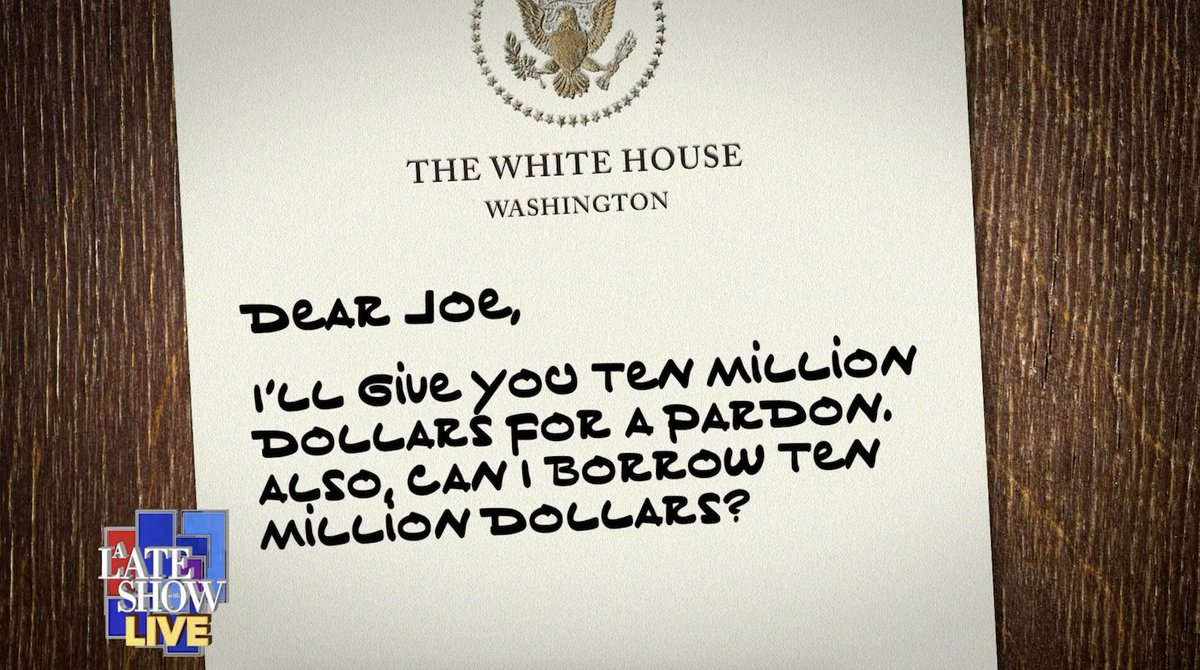 A Late Show has obtained a copy of the letter the previous POTUS left for Joe Biden. #LateShowLIVE