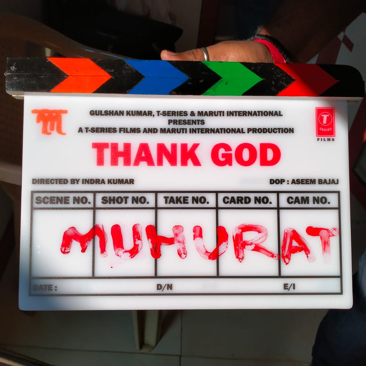 Starring @ajaydevgn , @SidMalhotra  & @Rakulpreet , #ThankGod  is a slice of life comedy with a great message   Dir by Indra Kumar is prod by Bhushan Kumar, Krishan Kumar, Ashok Thakeria, Sunir Kheterpal, Deepak Mukut, Anand Pandit and Markand Adhikari and co-prod by Yash Shah.