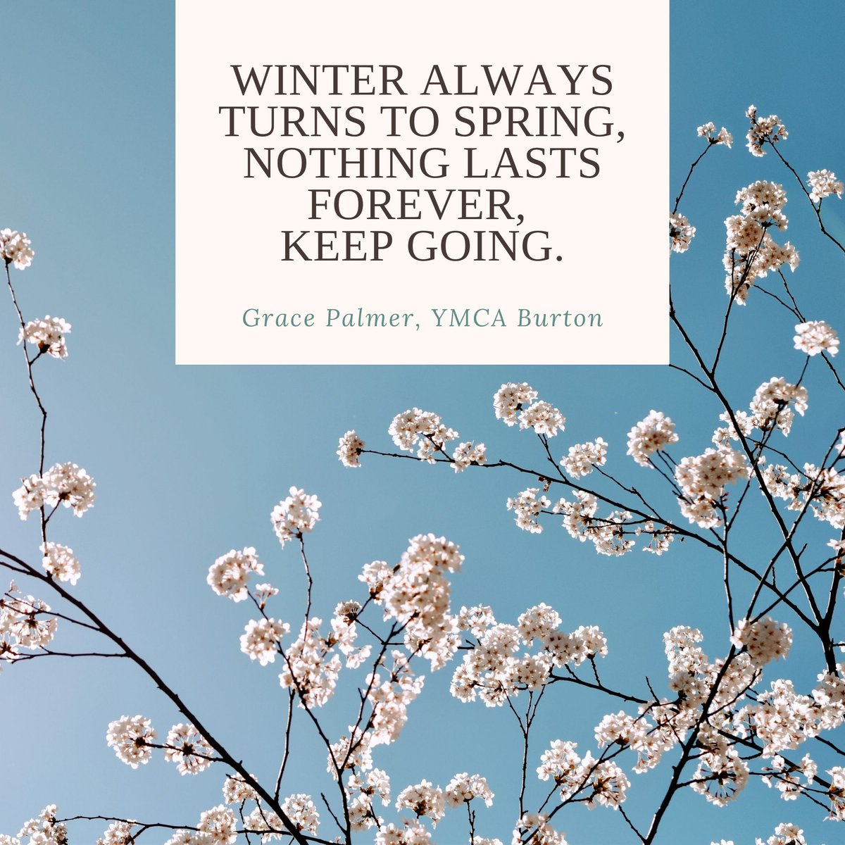 """Our Chaplain Grace always knows the right words to say....   """"Winter always turns to Spring, nothing lasts forever, keep going""""  #Charity #chaplaincy #ThursdayThoughts #thursdaymotivation"""