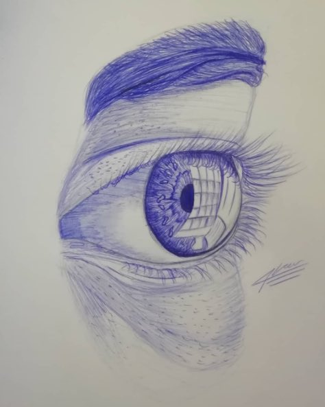 This drawing from one of my year 10s reminds me that biro pen & a scrap of paper is all we really need. #remotelearning #drawing #art #artist @ST3AMCo @NSEAD1