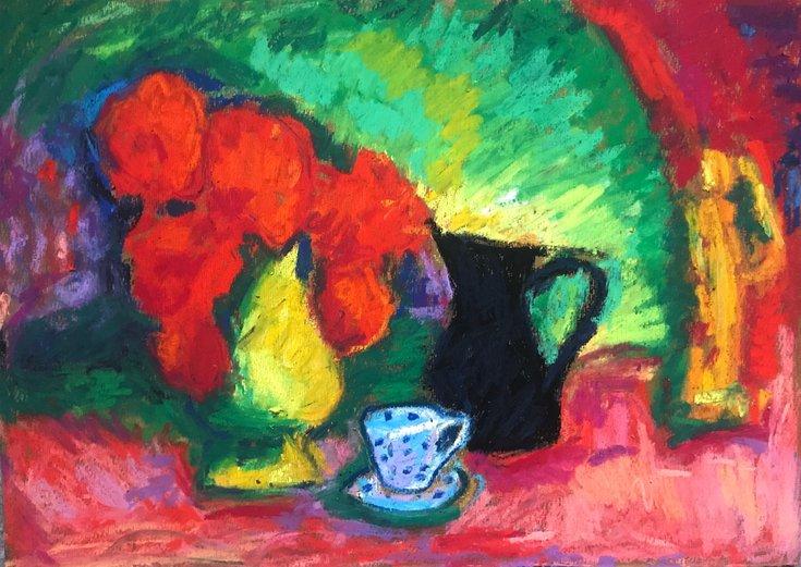 Still Life With Red… by Milica Radović #pastel #drawing #art  @artfinder