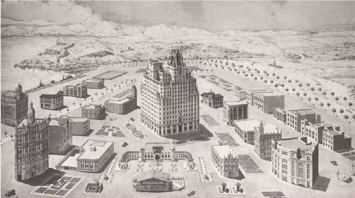 «La Ciudad @Telefonica 🏨🏥  Esta ciudad ideal muestra todas las centrales de nueva construcción de la Compañía Telefonica Nacional de España (CTNE), entre las que destaca el edificio de Gran Vía (1929) 📞  #SomosTelefónica