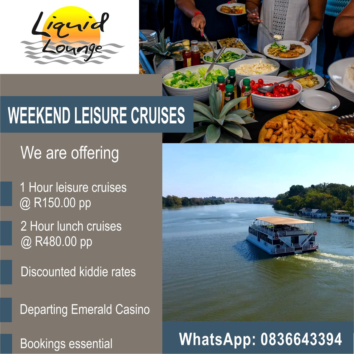 Ahoy from the Vaal  We're expecting a perfect Summer weekend 🌞  Come join us for a cruise   Covid safety measures & restrictions in place 💪  #CruisetheVaal #VaalRiver #LiquidLounge #Cruises #SundayLunch #Summer #WeekendVibes #Jozi #Gauteng
