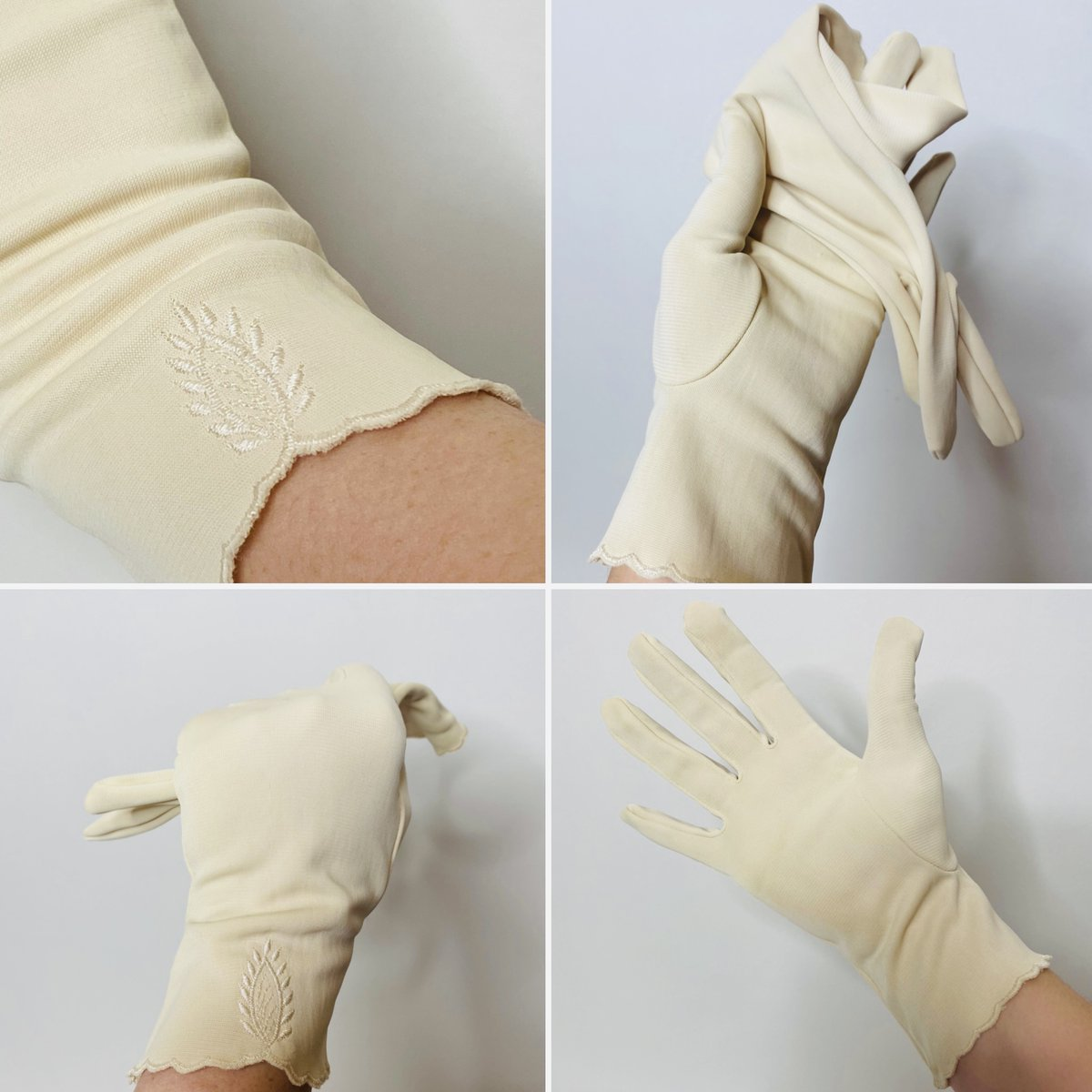 Sweet cream vintage gloves,  featuring scalloped edges and a pretty embroidered design, size 7.5 £8 #georginasvintage #etsyseller #etsyshop #creamgloves #50sgloves #50sfashion #embroideredgloves #elegantgloves #PPR