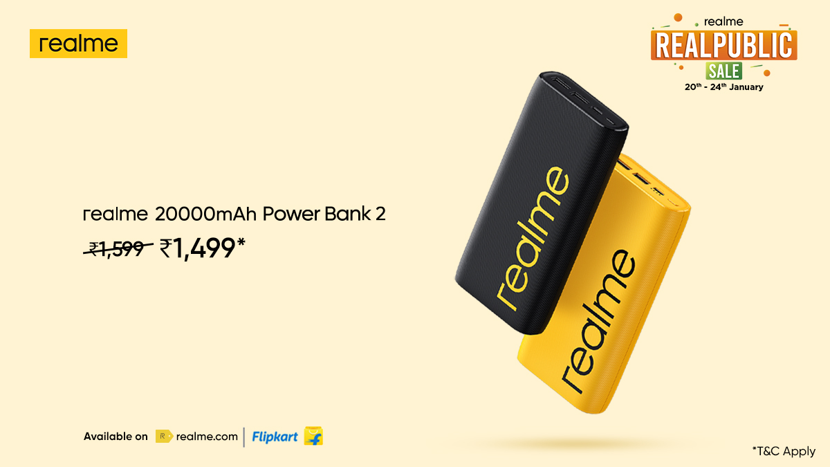 Power-packed savings are here! Check out some amazing deals* on your favourite #realme AIoT products only at the #RealpublicSale, till 24th January.  *T&C Apply Head here: