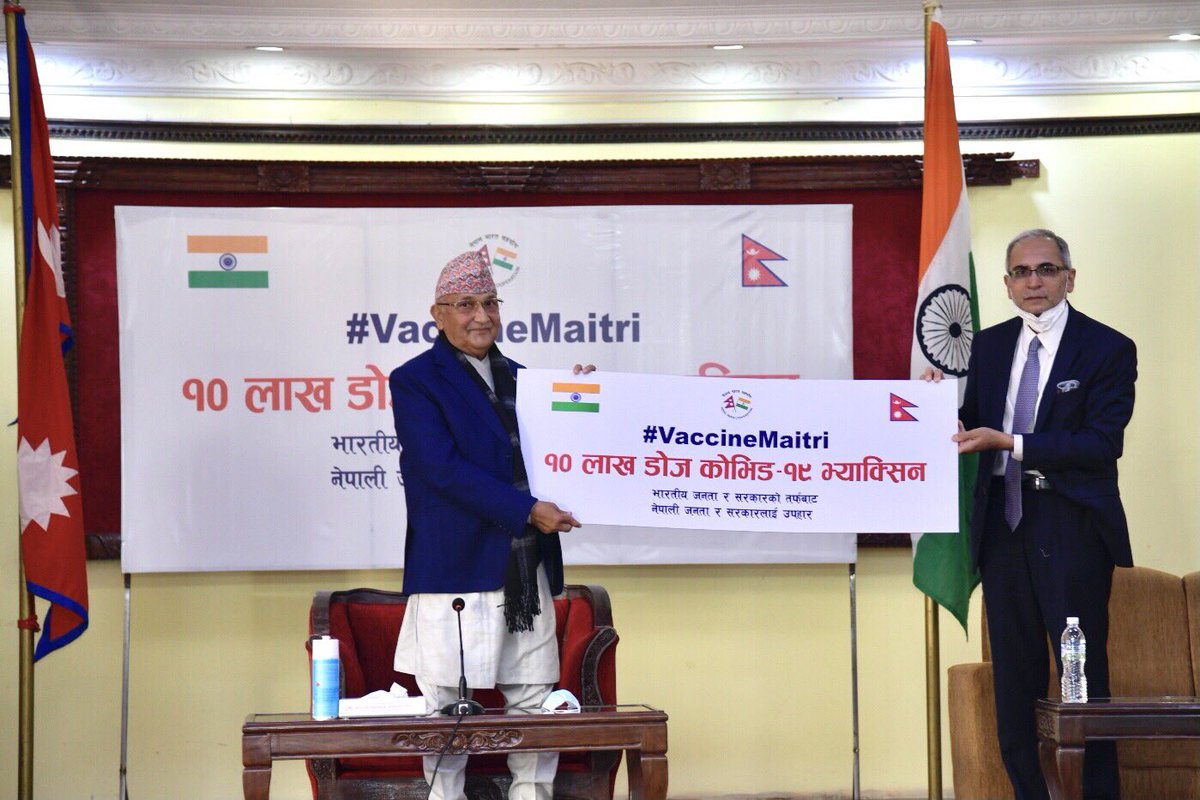 I thank Prime Minister Shri @narendramodi ji as well as the Government and people of India for the generous grant of one million doses of COVID vaccine to Nepal at this critical time when India is rolling out vaccination for it's own people.