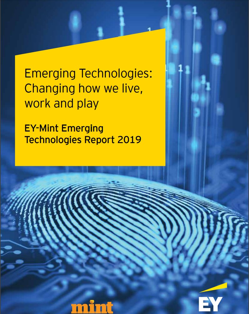 Emerging Technologies: Changing how we live, work & play. EY-Mint Emerging Technologies Report 2019 https://t.co/4e9LWH5Z9R  #AI #IA #blockchain #emergingtechnologies #robotics #3Dprinting #education #VR #AR #virtualreality #realidadVirtual #AugmentedReality #robotics #tech #IoT https://t.co/OBUAO23Wnu