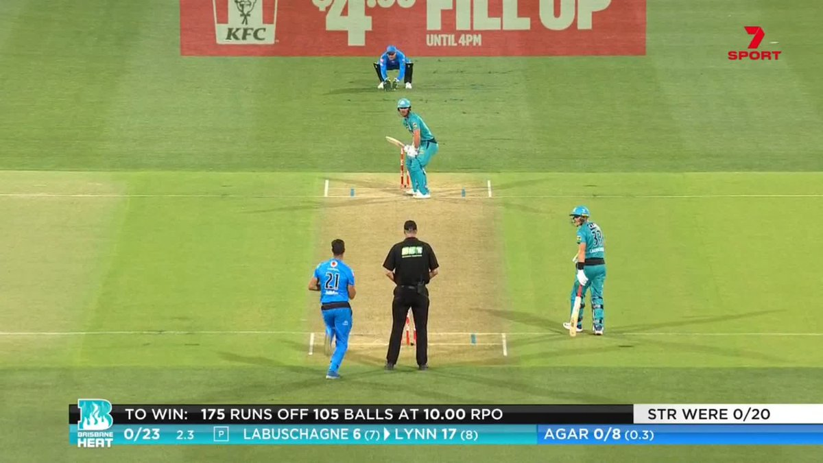 Huge for @StrikersBBL! Lynn caught on the rope when he was just starting to tee off #BBL10