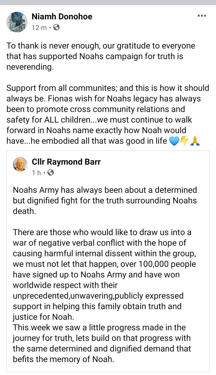 Replying to @NiamhDonohoe78: Noahs Army⚡ consists of people from all communities...lets respect each other💙🙏⚡