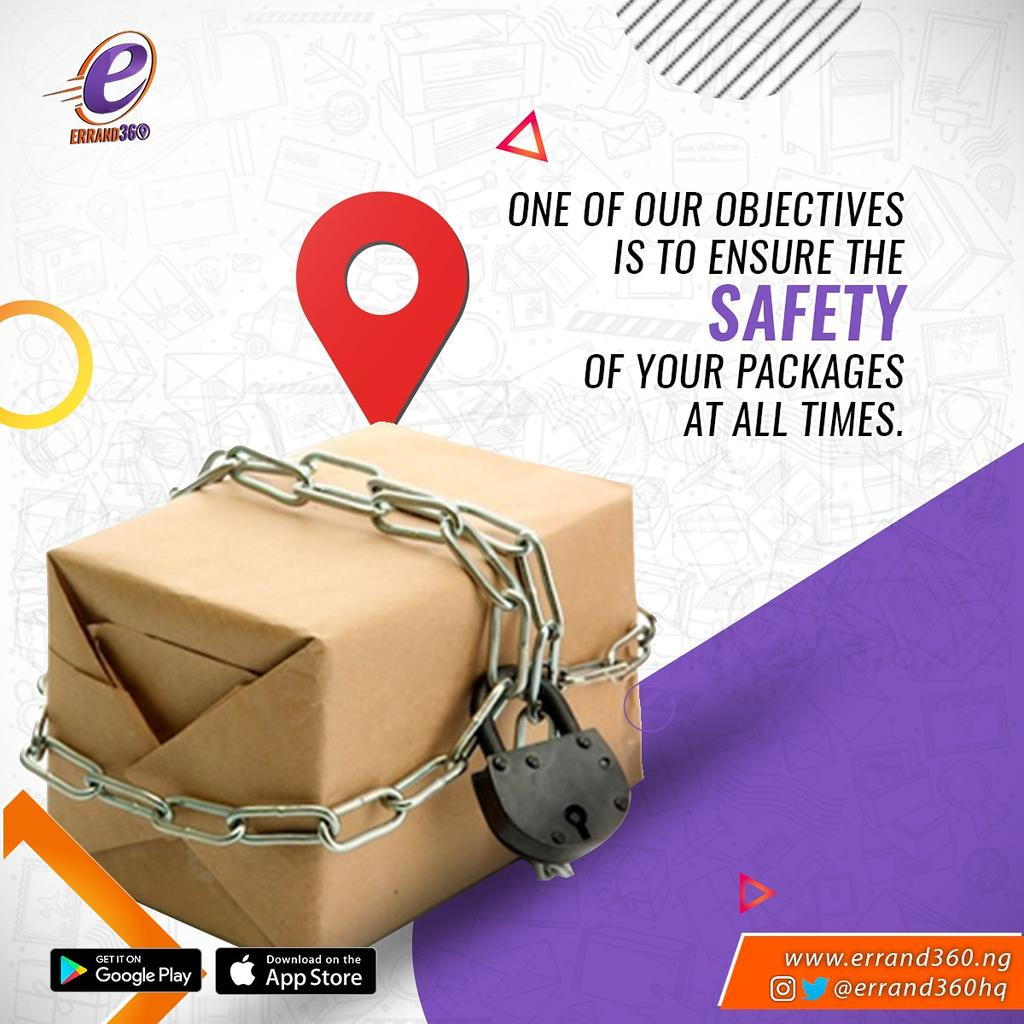 One of our objectives is to ensure the safety of your packages at all times. #ContactUs . .  #errand360 #explore #january #happynewyear #business #giveaway #logisticscompanyinlekki  #lagosbusiness #Thursday #owambe #logisticscompany #logisticshub #sendus