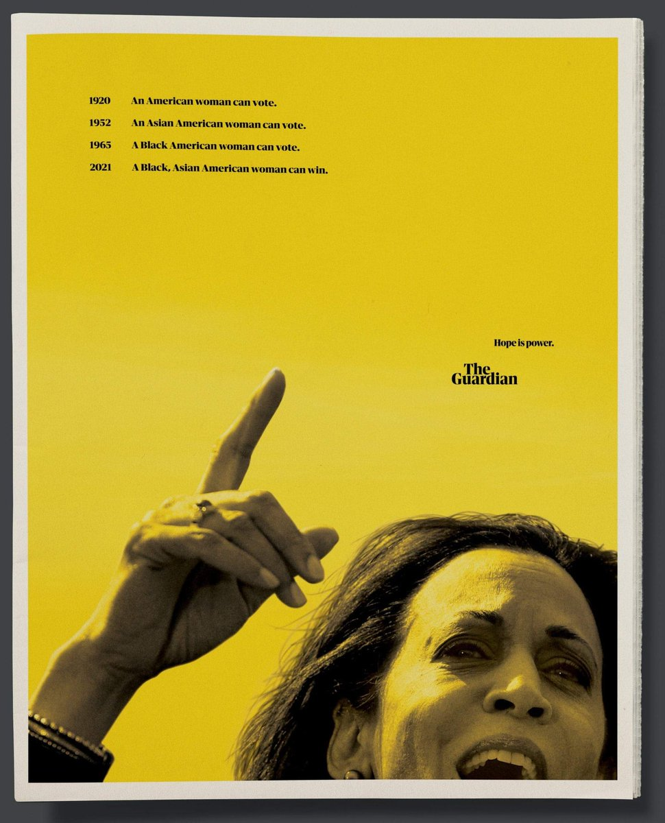 The Guardian celebrates Kamala Harris' achievement in a full-page ad... #ViralAdsNow #kamalaharris #theguardian #PrintAd #PrintAdvertising
