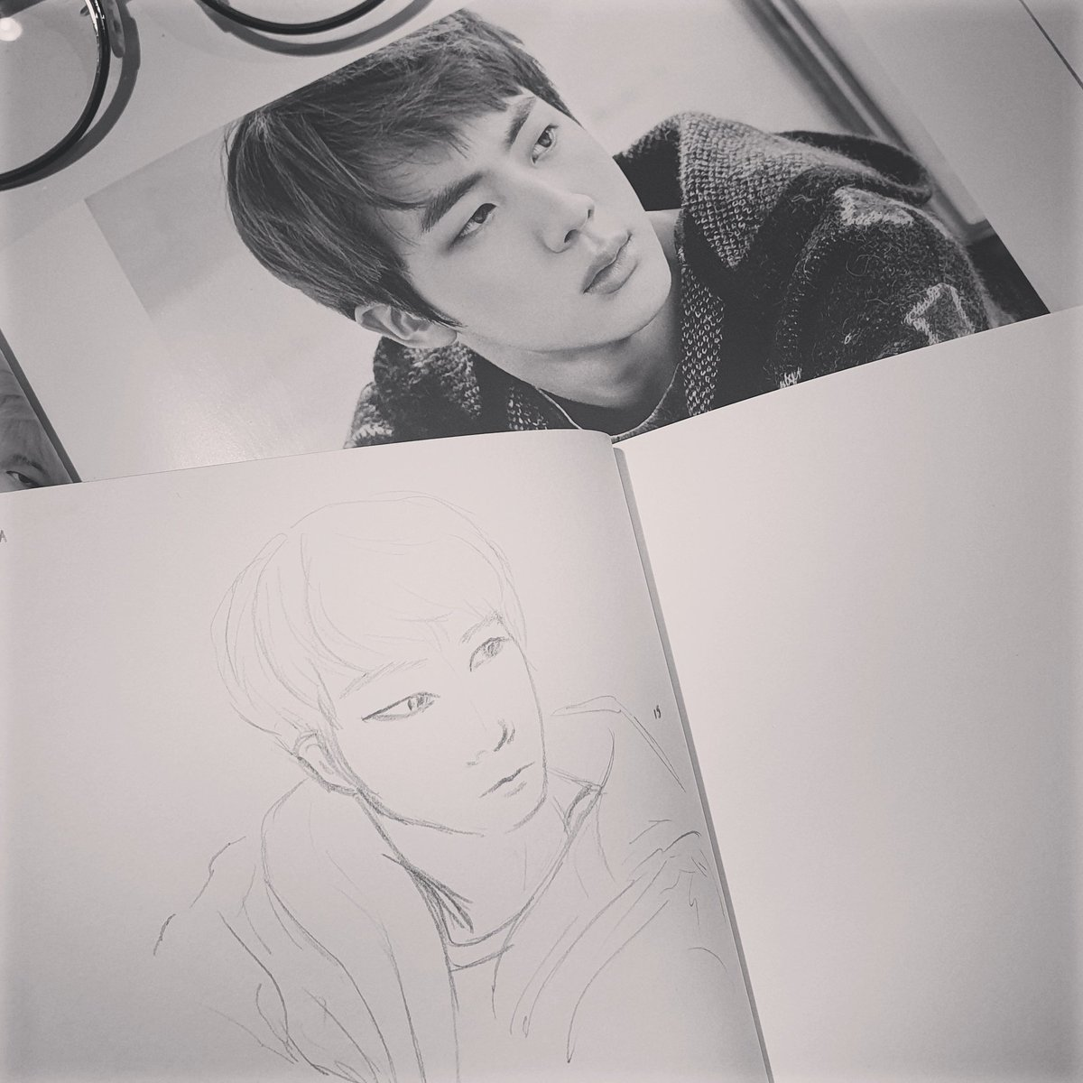 """Moving onto """"You Never Walk Alone"""" Era! It's in those times I really would have loved to be able to move his right eye T^T #kimseokjin #seokjin #jin #btsjin #bts #bangtansonyeondan #btsfanart #sketch #sketchbook #drawing #art #bangtan #onebangtanaday #youneverwalkalone #ynwa"""