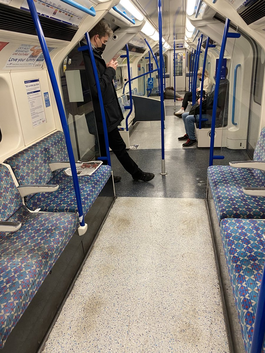 This was rush hour this morning at Victoria, London. Three commuters & a shoeless, homeless bloke comatose on the carriage floor  The economy is dying before our eyes. In 25 years here, I've never seen London this broken. It's heartbreaking https://t.co/mbktyozbTx