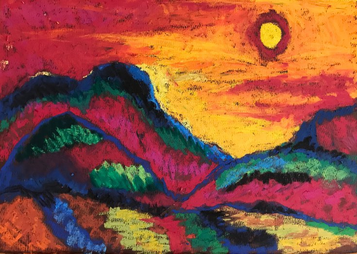 Landscape With Sun by Milica Radović #pastel #drawing #art  @artfinder