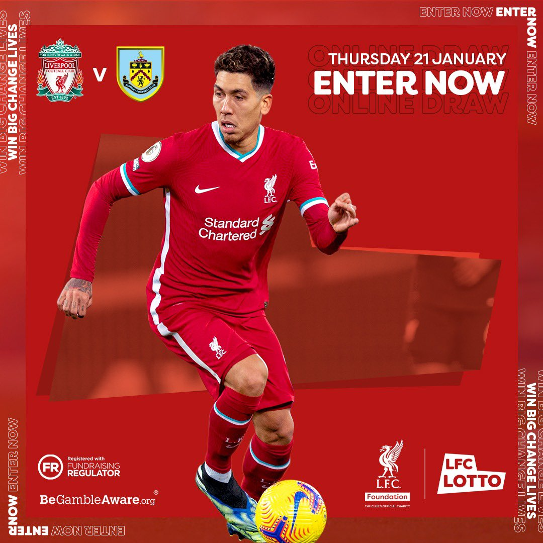 BRING ON TONIGHT!💪  Up for grabs: 🔥Huge cash prize! 🤩Signed @LFC shirt by Bobby Firmino!  ❤️Every ticket supports the @LFCFoundation Military Veterans & Adult Mental Health programmes.  💫Join now:   16+  #LIVBUR #YNWA