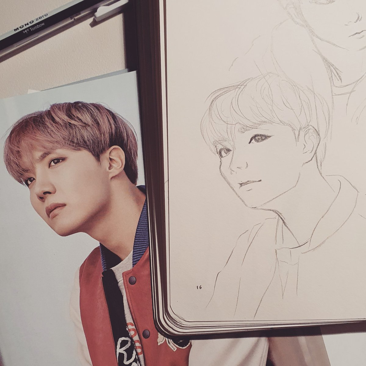 Hobi finally looking good 🥺 😭 💜  #hobi #jhope #hoseok #junghoseok #portrait #bts #bangtansonyeondan #btsfanart #sketch #sketchbook #drawing #art #bangtan #onebangtanaday #baguettesarmysxart #youneverwalkalone #ynwa