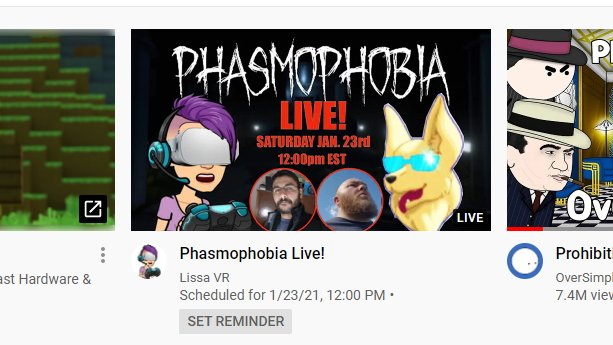 The Live Stream has now been posted on YouTube! Don't forget to set your reminder! Come hang out with @playz_vr   @dezzy_fox @Martin76x @whassanien as we attempt to take on the supernatural! #VR #vrgaming #youtubegaming #youtubelivestream #Livestream #VirtualReality #Phasmophobia https://t.co/bgEberS8K8