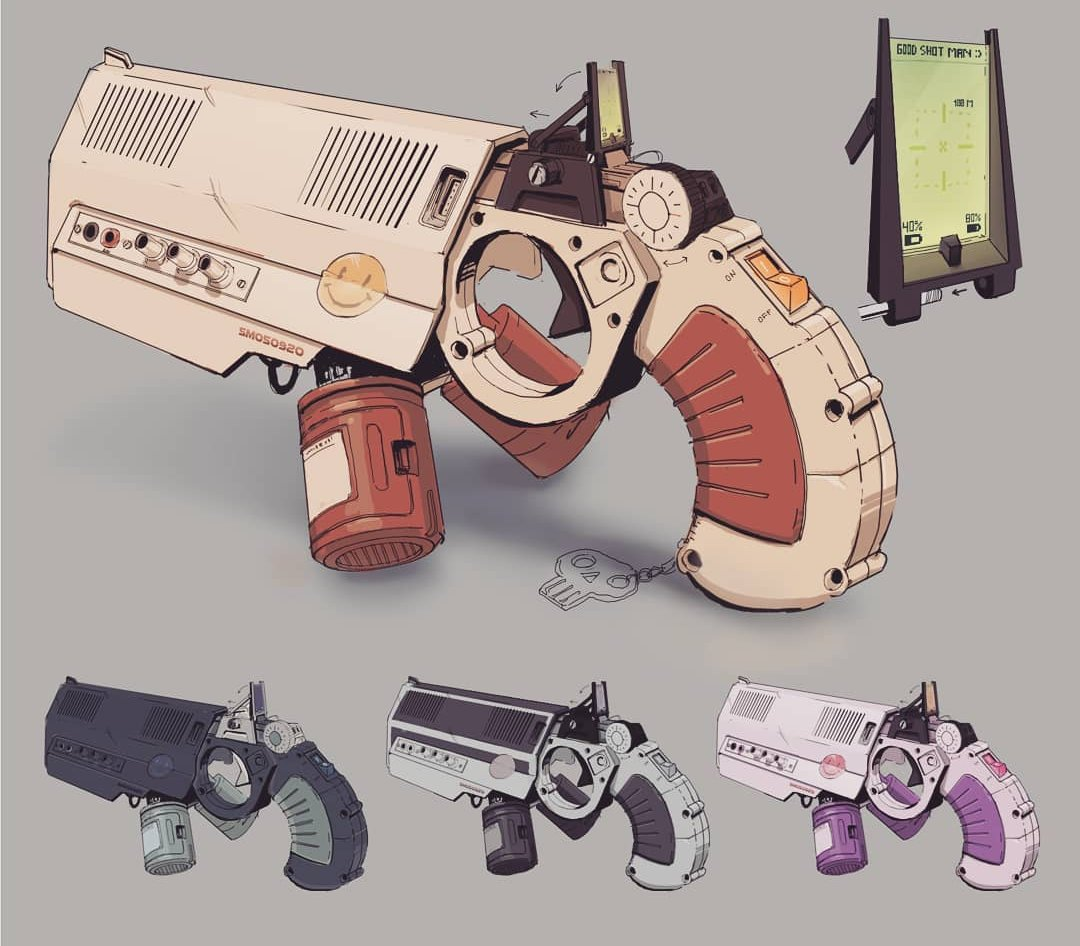 Loving these gun concepts from the marvellous Max Huusko , he's also done an Akira inspired one, go check it out!❤️✏️ .  . #chenja #illustration #community #illo #illustrationoftheday #illustration_daily #sketch #artwork #illustrationartist #drawing