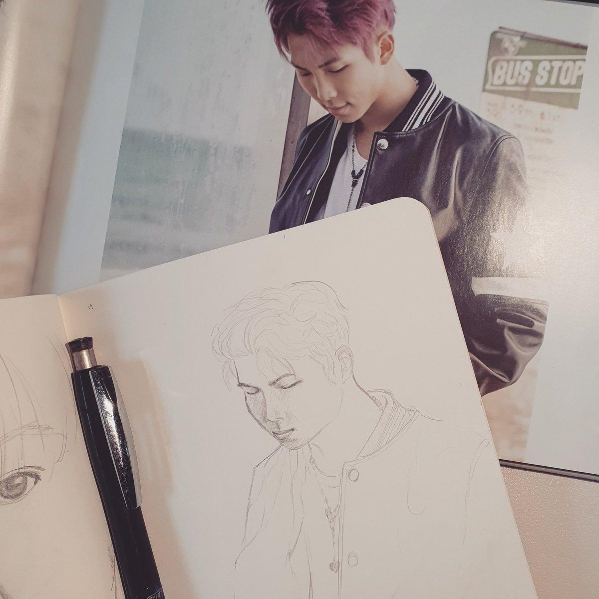 What it looks like when I actually take the time to sketch properly 😅  #namjoon #kimnamjoon #rm #btsrm #sketch #sketchbook #drawing #art #bangtan #onebangtanaday #baguettesarmysxart #youneverwalkalone #ynwa
