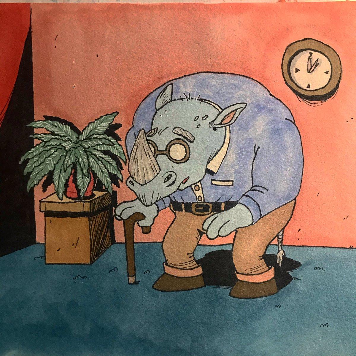 Elderly Rhino. #old #rhino #horns #dailydrawing