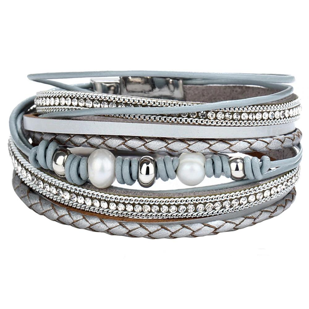 #food #tflers Women's Vintage Multilayer Leather Bracelet