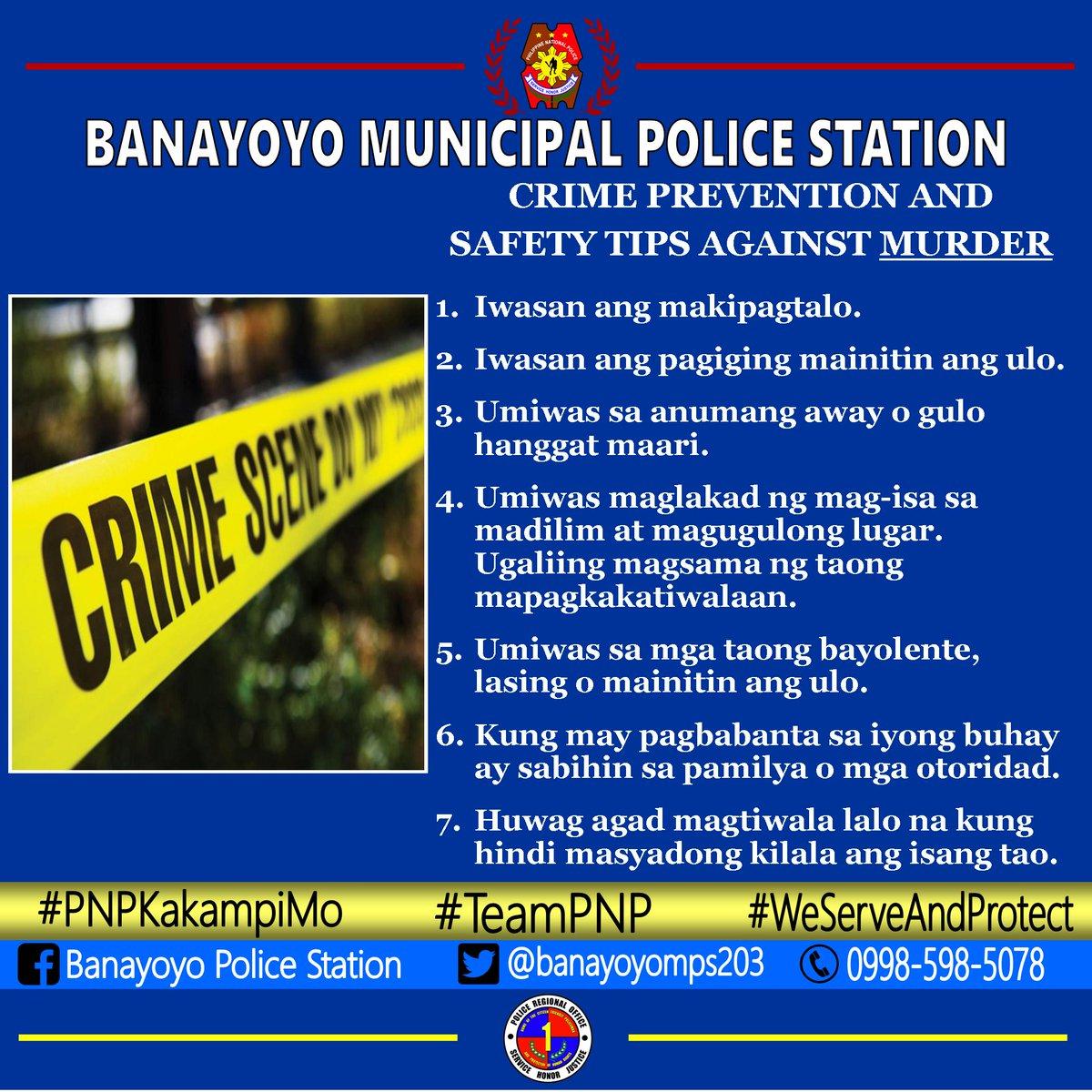 @pnpdpcr @pro1officialtw Crime Prevention and Safety Tips Against Murder #PNP #IlocosSurProvincialOffice #IlocosSur #GovRyanSingson #PBGENRodolfoAzurin #PNPChiefDeboldSinas #PCOLWilsonDoromal #WilsonDoromalPNPDiary #TripleIMPACTStrategy #PNPPRO1 #PRO1 #PatrolPlan2030 #teamvoltesV
