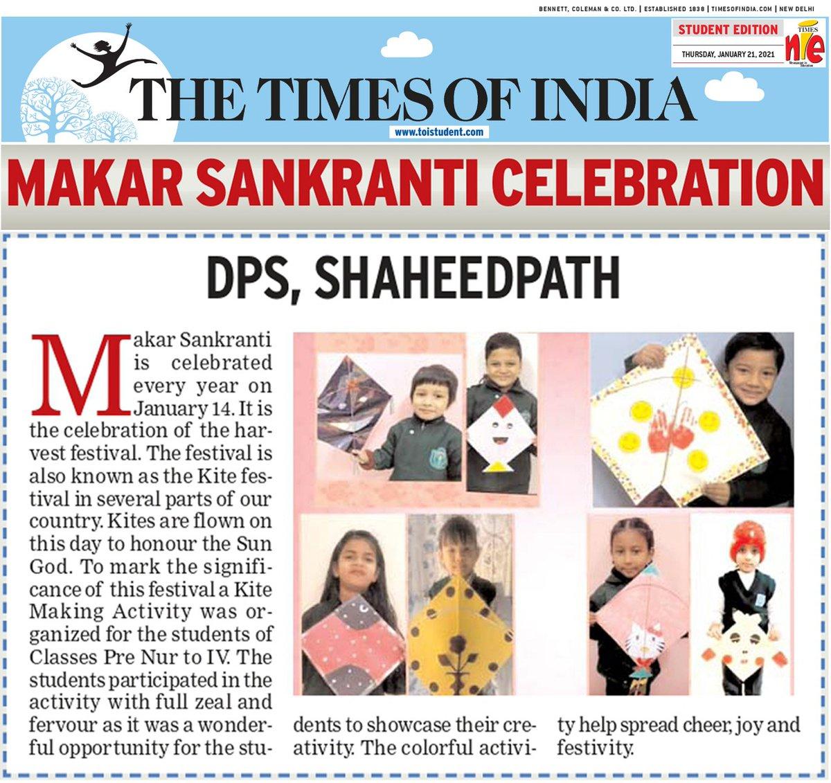 Makar Sankranti Celebration at DPS Shaheedpath covered in TOI. #dpslko #dpsshaheedpath #makarsankranti #presscoverage #toi