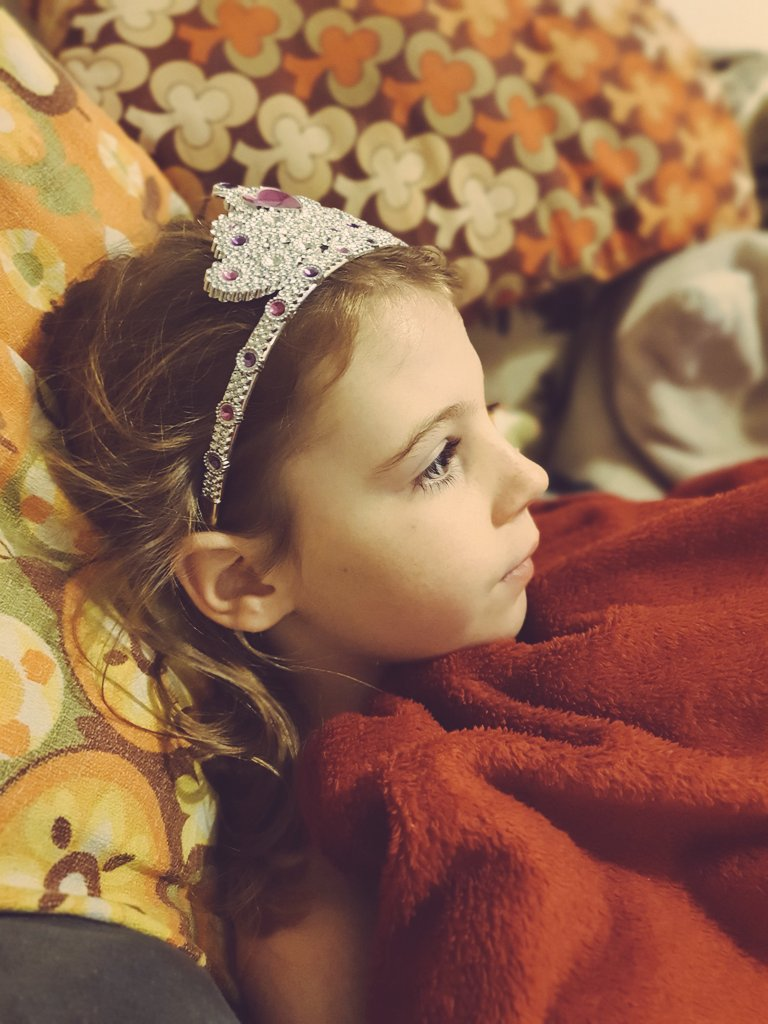 'Lets get up early to do decorations' she said. 'We' have been up since 0417. It is the #smilers birthday today. Somehow the #sleepthief managed to find a birthday tiara whilst sorting decs. 'We' are now watching Nativity. The #smiler is fast asleep. #cutebutwild #longdayahead ❤