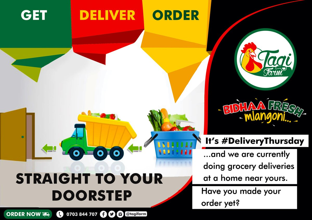 It's Delivery Thursday and we are currently doing grocery deliveries at a home near yours.   Call or DM us today to make an order.  #TryTagiFarm #DeliveryThursday #GroceriesOnline #GroceriesShopping #FreshFruits #Veggies #BidhaaFreshMlangoni #Mombasa