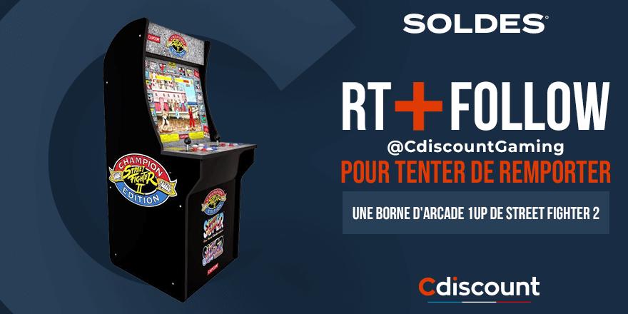 🎁 #CONCOURS  📝 Les #CdiscountSoldes c'est du 20 janvier au 16 février !  🔥 Tentez de remporter une borne d'arcade ''Arcade 1UP'' de Street Fighter 2 ➡️   ✔️ Pour cela : RT + FOLLOW @CdiscountGaming  ⌛ TAS le 28/01