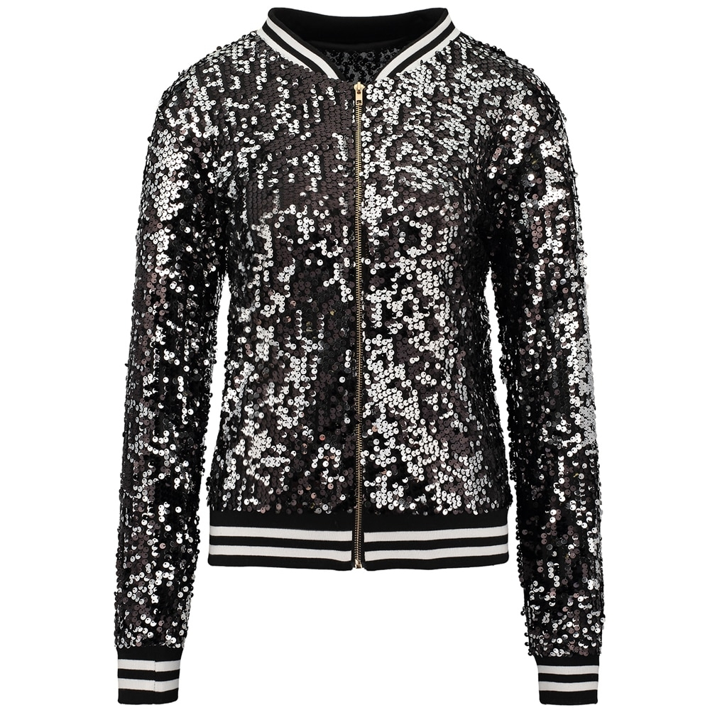 Women's Striped Detail Sequined Bomber Jacket #food #tflers