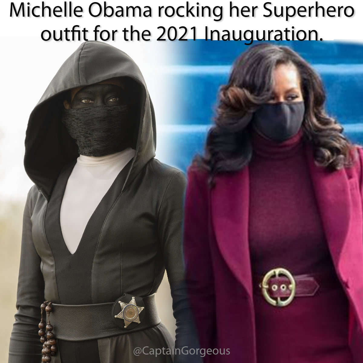 At #InaugurationDay, @MichelleObama channeling @ReginaKing a la Sister Night of @watchmen, watching fellow #HeroWomanOfColor @KamalaHarris becoming #VicePresident today. Ready to burst into action if needed. #superheroes #NoCapesNeeded #glassceilingshattered #WomanCrushWednesday