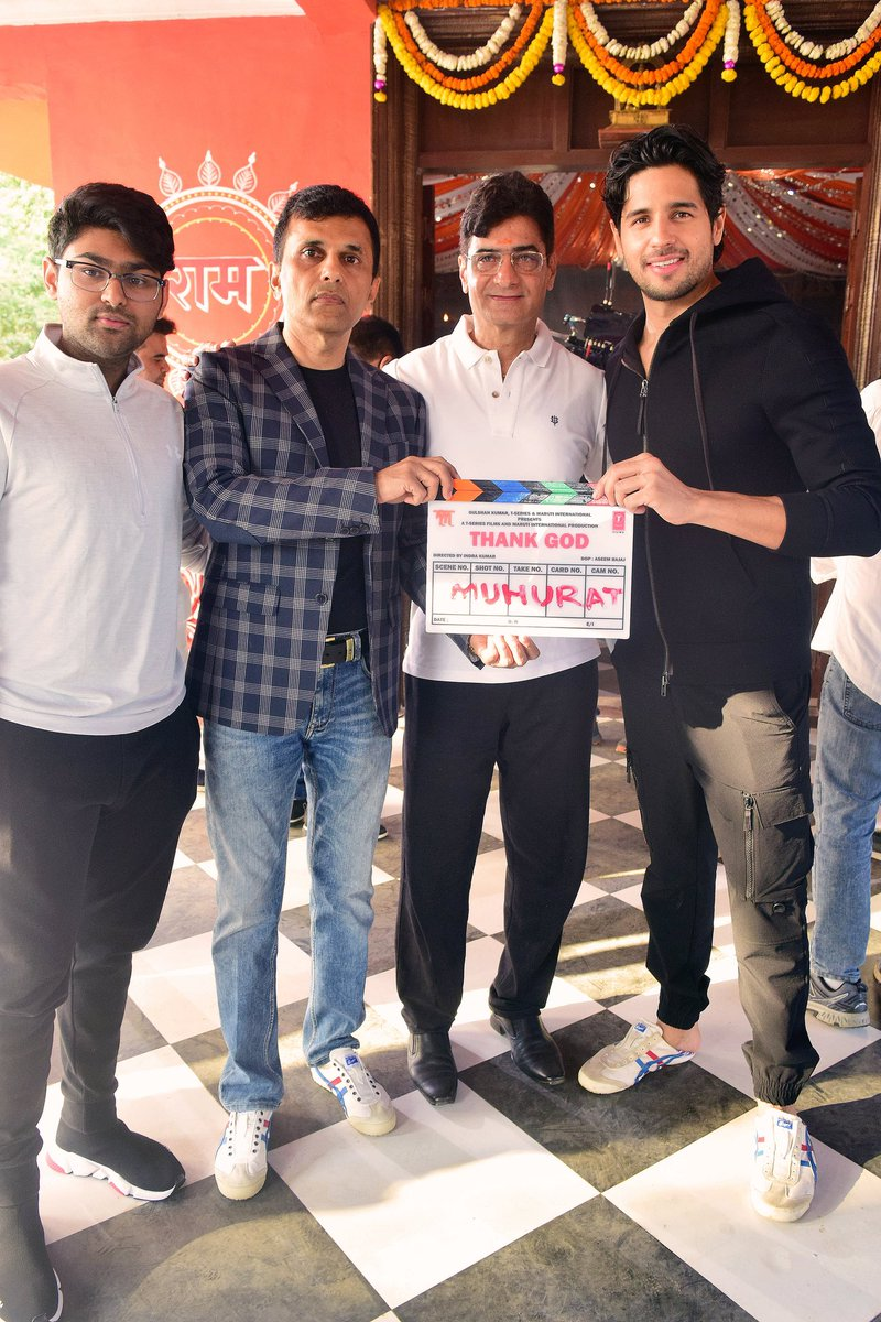 Lights, Camera, Action. We, at Anand Pandit Motion Pictures, are happy to share with you a glimpse of the Muhurat of our upcoming project #ThankGod as the shoot commences today!  @ajaydevgn @SidMalhotra @Rakulpreet @Indra_kumar_9 @SunirKheterpal @DeepakMukut @anandpandit63