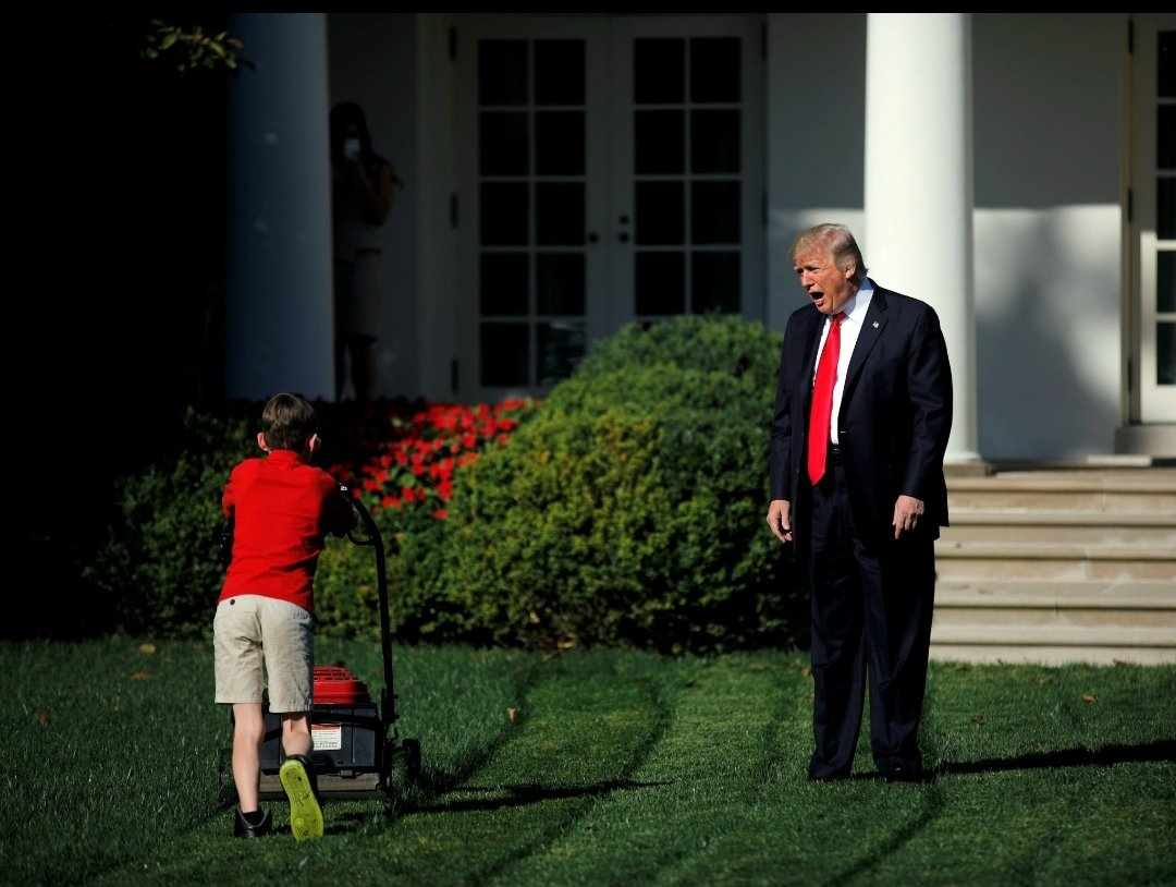 The ubiquitous and versatile old-man-yelling-at-kid-mowing-lawn meme #ThingsImGonnaMissAboutTrump