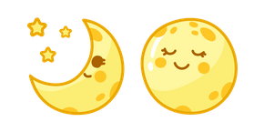 The cute smiling yellow Moon is the only natural satellite of the Earth! #CustomCursor #Cursor #pointer #CuteCursors #kawaii #Cute #Smile #Yellow #Moon #Stars #Crescent #Satellite