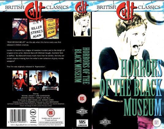 Original retail vhs artwork of the horror film #HorrorsOfTheBlackMuseum starring Michael Gough and directed by Arthur Crabtree #tbt #artwork #HorrorMovies