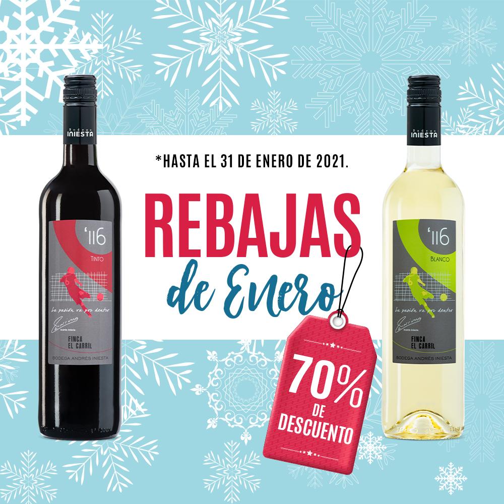 ¡Seguimos con las rebajas de enero! ¡Minuto 116' blanco o tinto al 70% de descuento! 🤩 👉  #Rebajas #ofertas #winesales #sales #vinoblanco #vinotinto #Minuto116 #BodegaIniesta