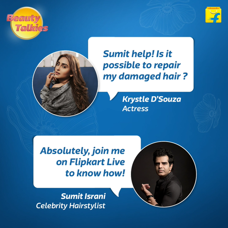 Hair advise? Everyone needs it - even celebrities! Join celeb hairstylist Sumit Israni talking hair with the gorgeous Krystle Dsouza at the Pro-Care Week at Flipkart Beauty Talkies. Tune in to Flipkart's Instagram Live on 22 Jan at 5pm. See you there!