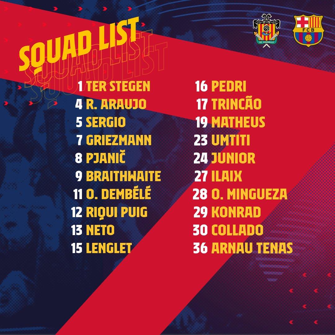 El Barça deixa fora de la convocatòria pel partit de Copa a Cornellà a Jordi Alba i De Jong. Messi és baixa per sanció i Dest, Piqué, Ansu Fati i Sergi Roberto per lesió.